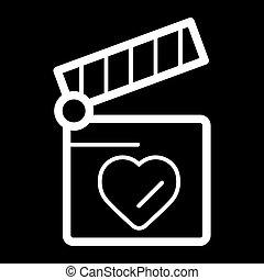 hart, concept, liefde, klepel, symbool., plank, design.