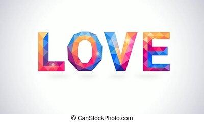 hart, concept, liefde, romantische, polygonal, animatie, video, card.
