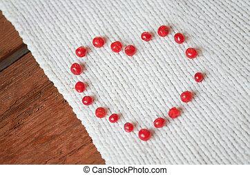 hart, concept, liefde, vorm, besjes, rood