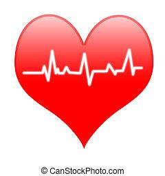 hart, electro, middelen, slaan, hartslag, innige, of, hartelijk