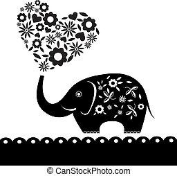 hart, flowers., elefant, kaart, schattig