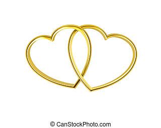 hart formeerde, ringen, gouden