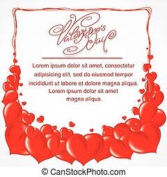 hart, frame, valentines dag, achtergrond