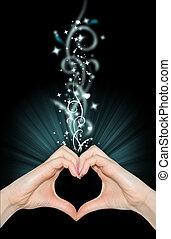 hart gedaante, handen, liefde, magisch