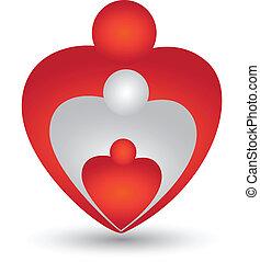 hart gedaante, vector, gezin, logo