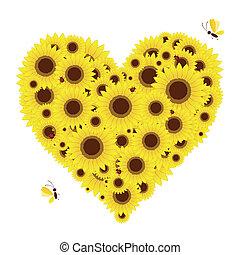 hart gedaante, zonnebloemen, jouw, ontwerp