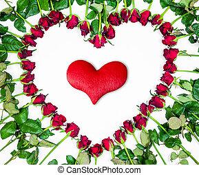 hart, gemaakt, achtergrond., valentines, vrijstaand, rozen, witte , dag, rood