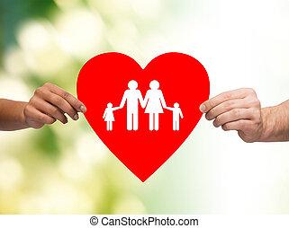 hart, gezin, closeup, holdingshanden, rood