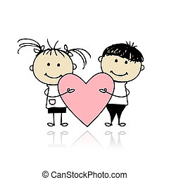 hart, groot, kinderen, valentijn, day., ontwerp, jouw, rood