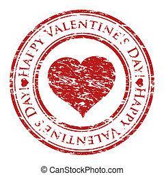 hart, grunge, valentine, postzegel, tekst, binnen, vrijstaand, rubber, stamp), geschreven, vector, (happy, achtergrond, illustrator, witte , dag