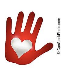 hart, hand., ontwerp, illustratie