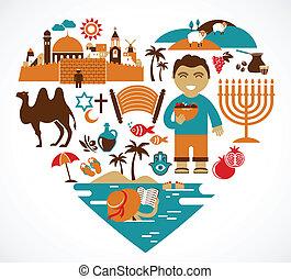 hart, israël, set, -, vector, illustraties