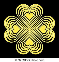 hart, keltisch, -, gele, stylized, knoop