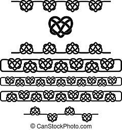 hart, keltisch, set, symbolen, vector, knot.