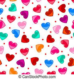 hart, kleurrijke, model, op, seamless, vorm, black , plezier
