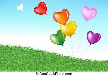 hart, kleurrijke, vorm, ballons