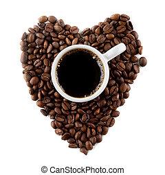 hart, koffie bonen