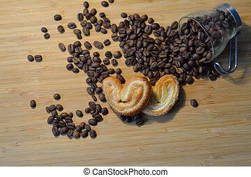 hart, koffie, zoet, koekjes, bonen, hoop