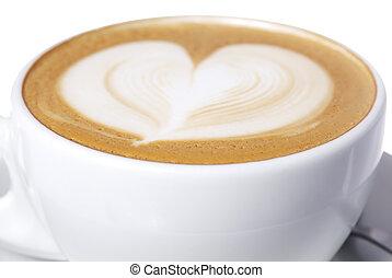 hart, kop, latte, design.