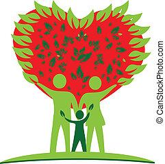 hart, liefde, boompje, logo, gezin