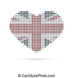 hart, liefde, creatief, vlag, uk