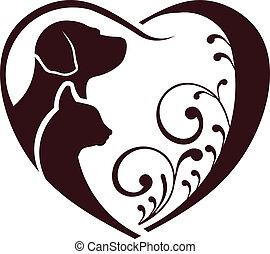 hart, liefde, dog, kat