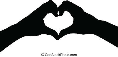 hart, liefde, handen