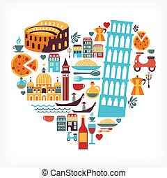 hart, liefde, iconen, -, vorm, vector, italië