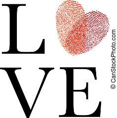 hart, liefde, rood, vingerafdruk