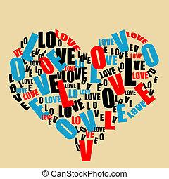 hart, liefde, typografie, retro