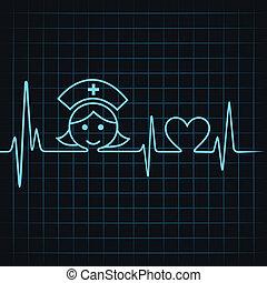 hart, maken, hartslag, verpleegkundige, gezicht