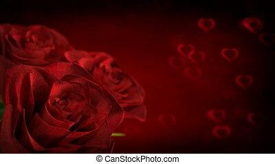 hart, ronddraaien, roos, -, seamless, partikels, rood, render., lus, 3d