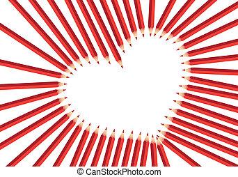 hart, rood, potloden