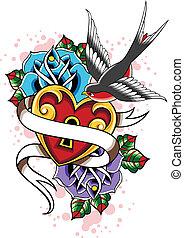 hart, roos, zwaluw, tatoeëren