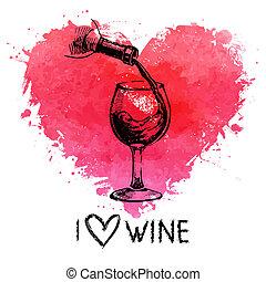 hart, schets, banner., ouderwetse , illustratie, hand, watercolor, gespetter, achtergrond, getrokken, wijntje
