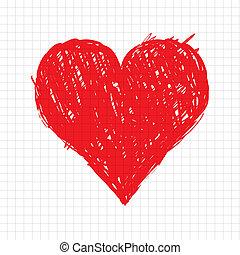hart, schets, vorm, ontwerp, jouw, rood