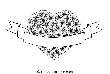 hart silhouet, feestelijk, vorm., bezig met afdrukken van, black , begroetenen, witte bloemen, lint