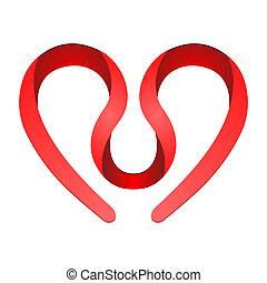 hart, symbool, rood
