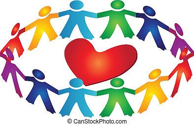 hart, teamwork, ongeveer, logo