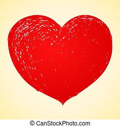 hart, tekening, rood