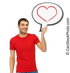hart, tekst, informatietechnologie, het glimlachen, bel, man