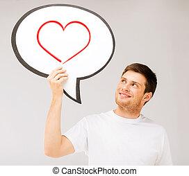 hart, tekst, informatietechnologie, jonge, het glimlachen, bel, man