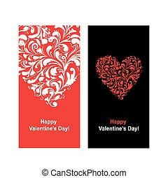 hart, valentijn, vorm, ontwerp, jouw, kaart