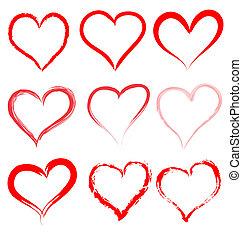hart, valentines, valentijn, vector, hartjes, dag, rood