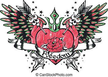 hart, van een stam, royalty, vleugel