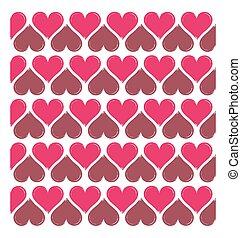 hart, vector, seamless, achtergrond, gevormd