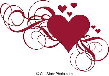 hart, vector, swirls