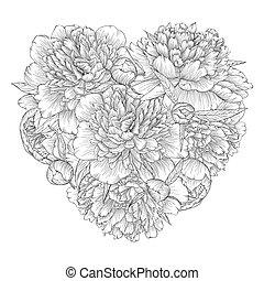 hart, verfraaide, bloemen, peony