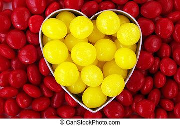 hart, versuikeren, gele, rood