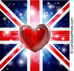 hart, vlag, liefde, uk, achtergrond